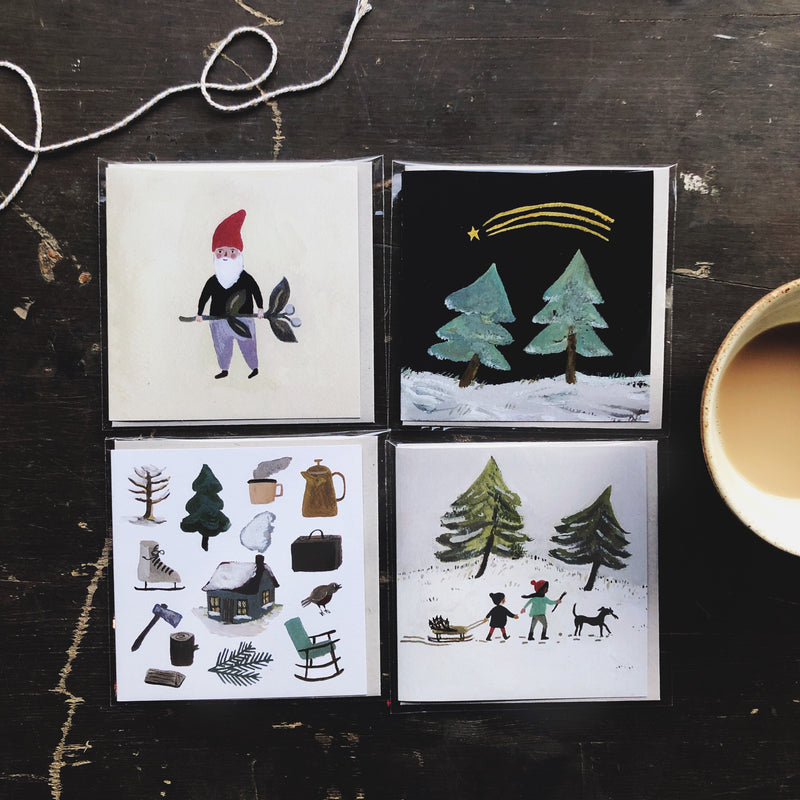 Winter Cards set of 4