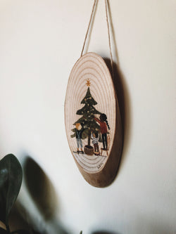 Christmas Tree- original painting on a wooden slice
