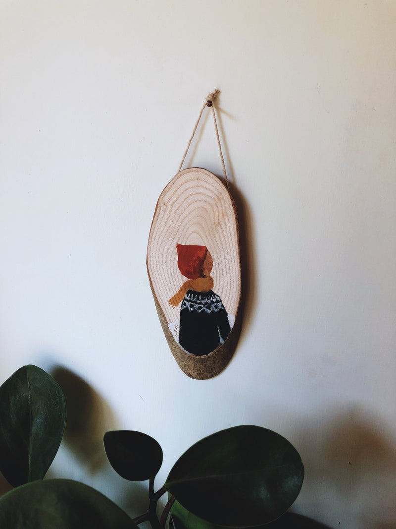 Winter Bonnet - original painting on a wooden slice