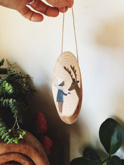 An Apple for Reindeer - original painting on a wooden slice