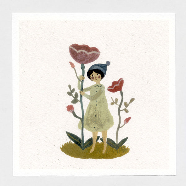 Blooms and Bobble hat 6x6 print