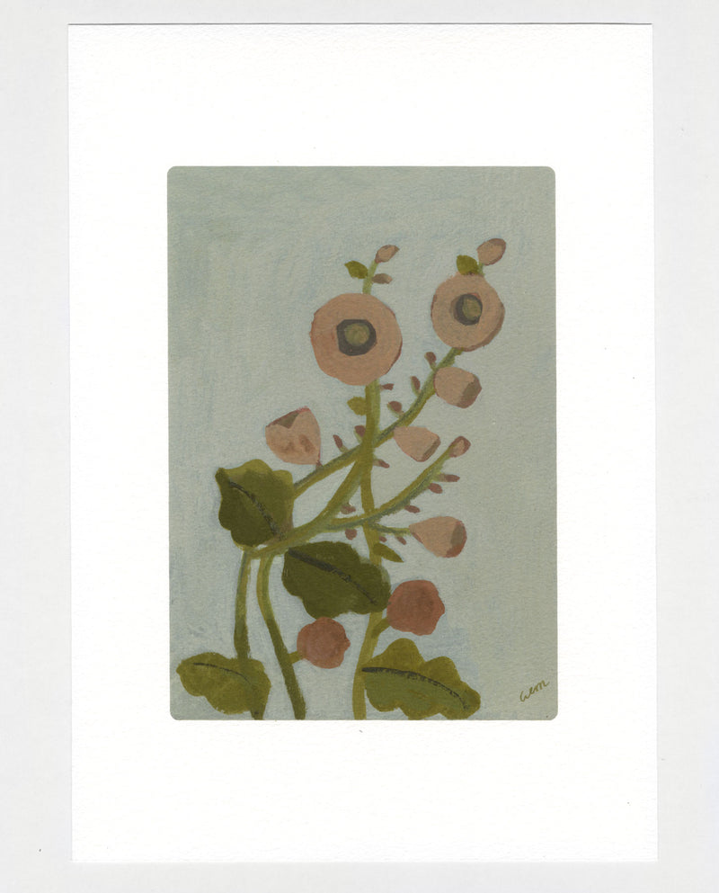 Hollyhocks a4 print