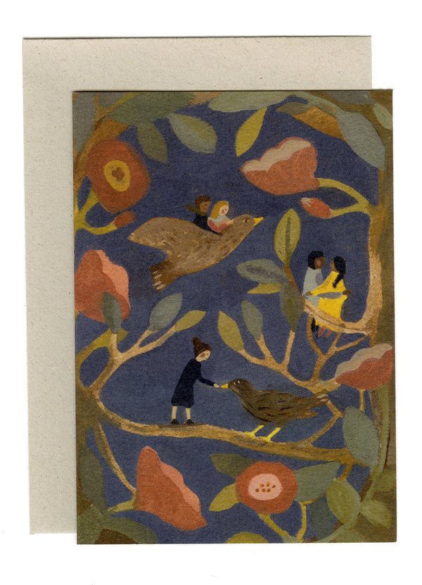 Nightingales and Roses card