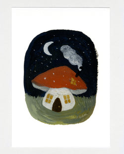 Toadstool Cottage a5 print