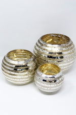Set of 3 Mercury Stripe Glass Vases