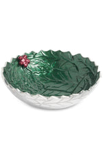 "Holly Sprig 8.5"" Round Bowl Emerald"