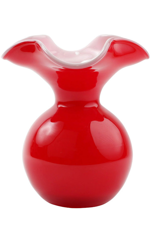 Vietri Hibiscus Glass Red Small Fluted Vase