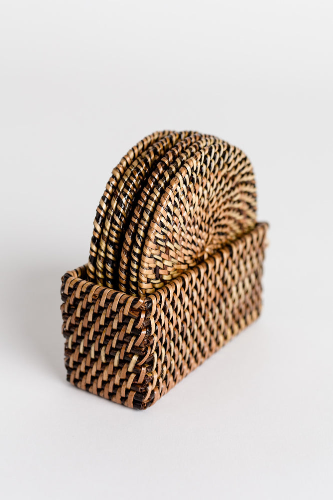 Coaster Set w/ Case, Ratan Weave
