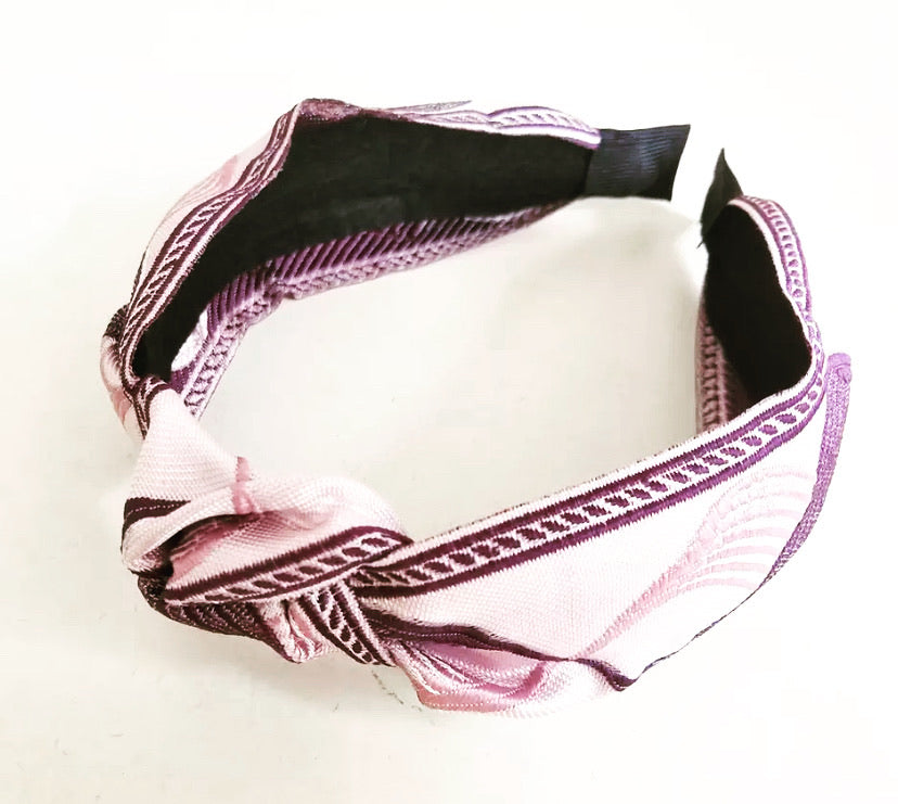 Jacquard Headband - Lavender/Off White