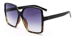 Oversized Square Sunglasses - Black Leopard
