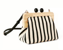 Load image into Gallery viewer, Stripe Wooden Bag - Black/Ecru