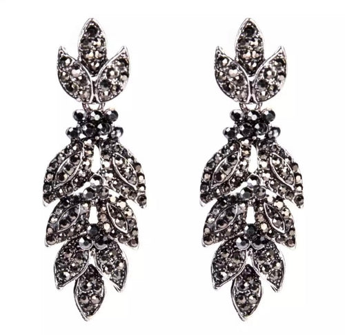 Crystal Drop Earrings - Gunmetal