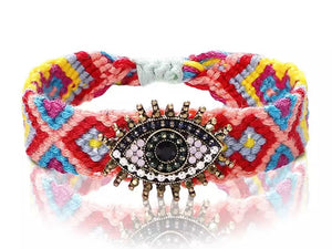 Boho Evil Eye (Good Luck) Woven Bracelet - Multi