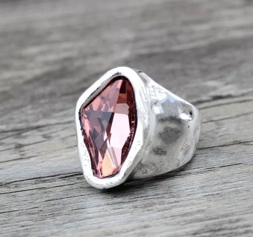 Silver Irregular Oval Glass Stone Ring - Rose