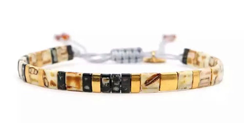 Block Bracelet - Natural/Black/Gold
