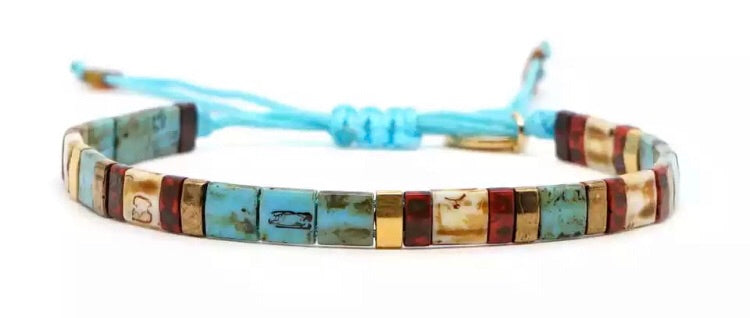 Block Bracelet - Turquoise/Natural/Gold