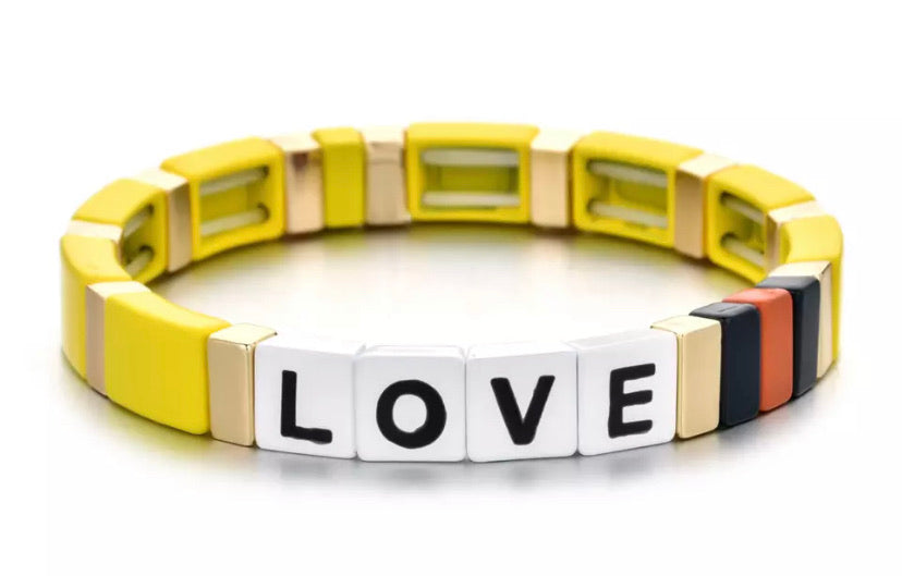 Stackable Enamel Bracelet - Love Yellow