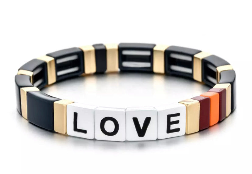 Stackable Enamel Bracelet - Love Black