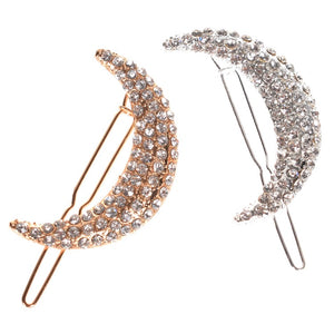 Crescent Moon Hair Clips - Silver & Gold