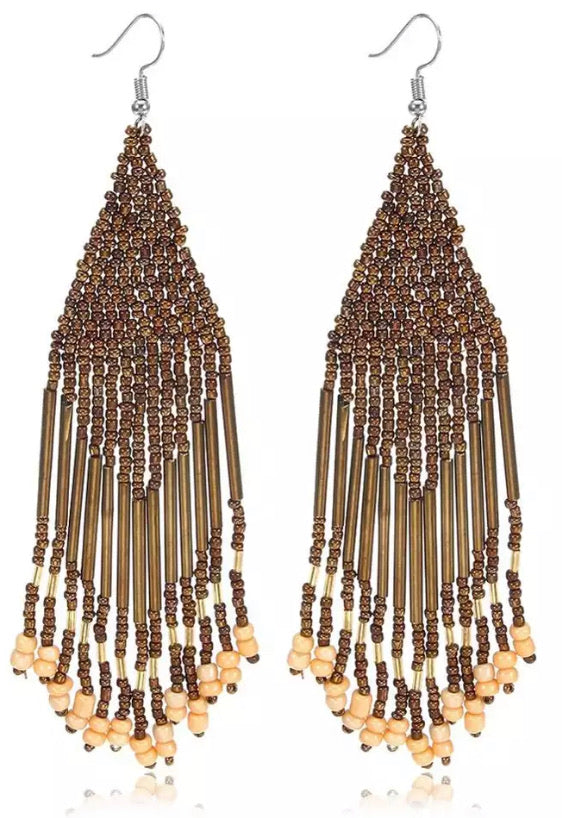 Beaded Boho Tassel Earrings - Bronze