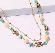 Load image into Gallery viewer, Double Layered Necklace - Gold/Shell