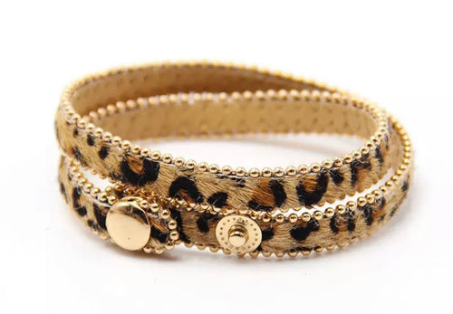 Animal Print Wrap Bracelet - Natural/Brown