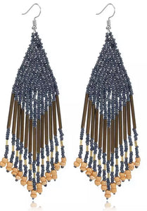 Beaded Boho Tassel Earrings - Gunmetal