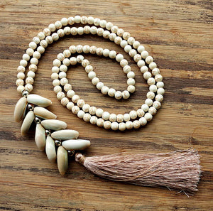 Cowrie Cluster Long Tassel Necklace