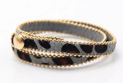 Animal Print Wrap Bracelet - Grey