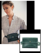 Load image into Gallery viewer, Belt Bag - Green Mock Croc