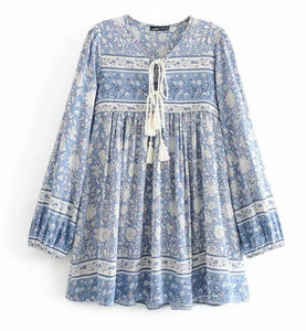 Boho Blouse/Tunic - Blue Mix