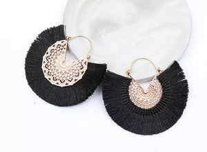 Ibiza Fan Earrings - Black