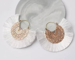 Ibiza Fan Earrings - White