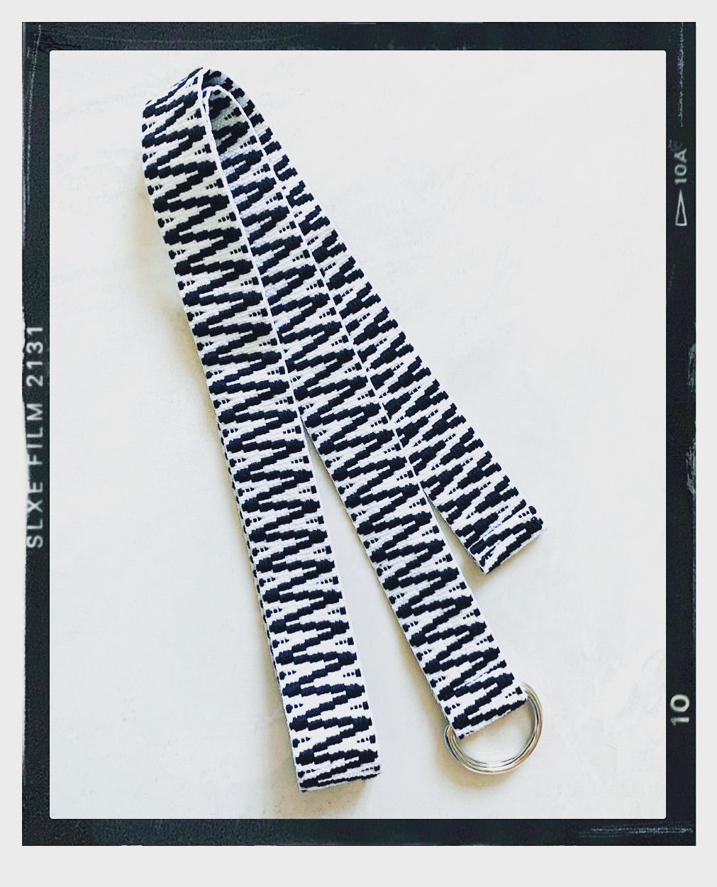 Woven Long Belt - Black/White