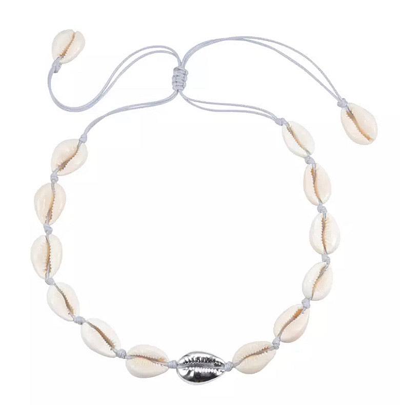 Cowrie Shell Necklace - Silver