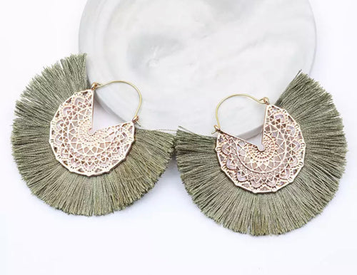 Ibiza Fan Earrings - Light Green