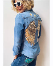 Load image into Gallery viewer, Rose Mae Reworked - GOLDEN ANGEL Denim Shacket
