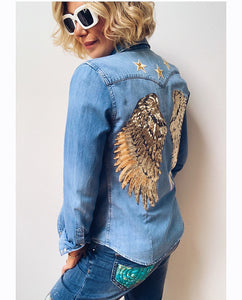 Rose Mae Reworked - GOLDEN ANGEL Denim Shacket