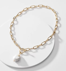 Gold Chain Link Pearl Necklace