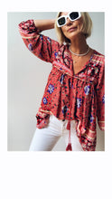 Load image into Gallery viewer, Boho Blouse/Tunic - Red Floral Mix