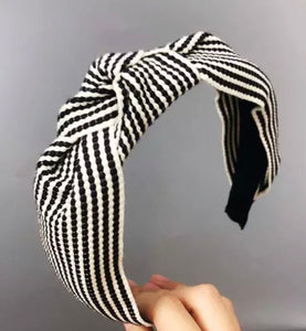 Stripe Headband - Black/Ecru