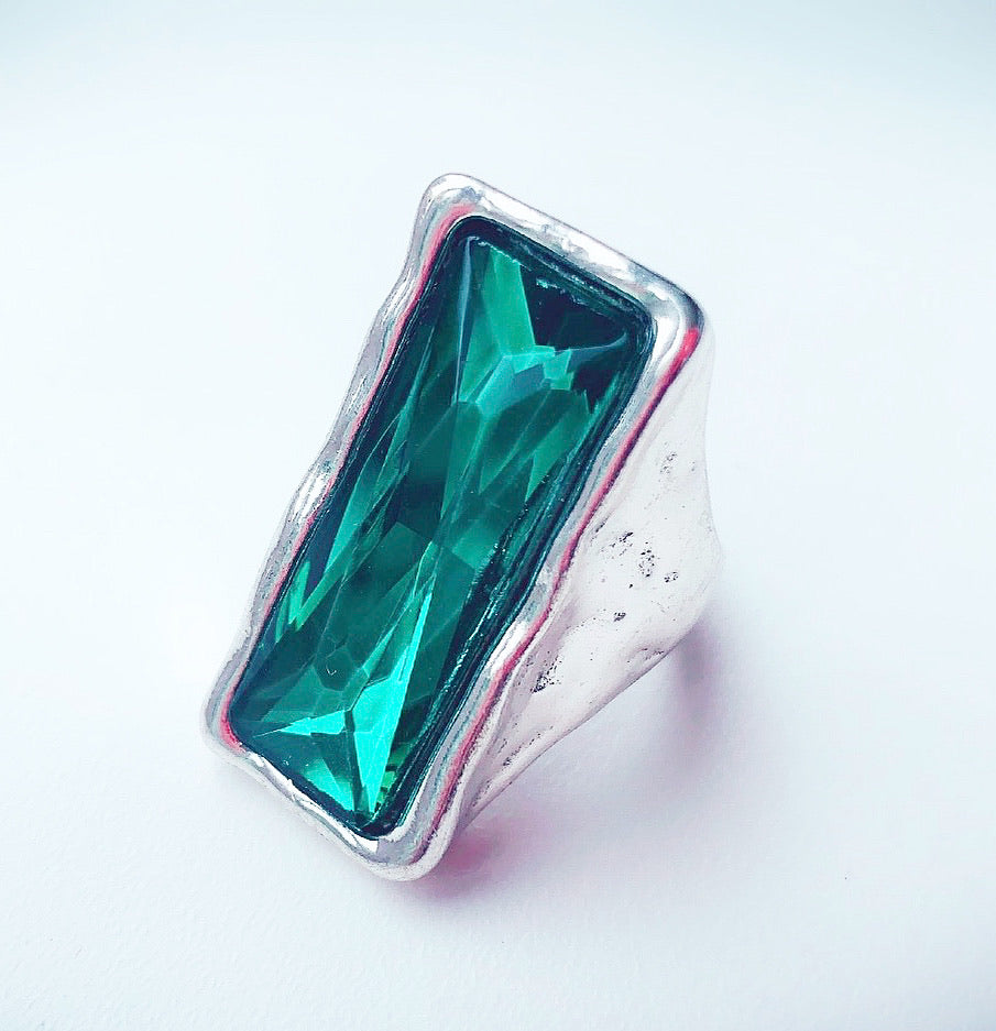 Silver Glass stone Ring - Emerald Oblong