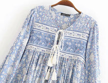 Load image into Gallery viewer, Boho Blouse/Tunic - Blue Mix