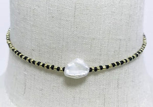 Black/Gold Pearl Necklace