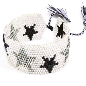 Star Beaded Cuff in Silver (Was £12.50 Now £7)