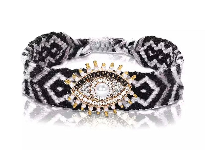 Boho Evil Eye (Good Luck) Woven Bracelet - White/Black
