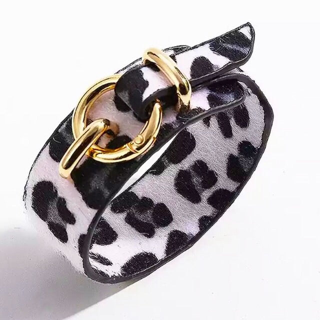 Leopard Print Cuff - White (Was £14 Now £8)