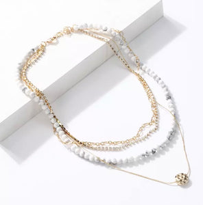 Multi Layer Necklace - White/Gold