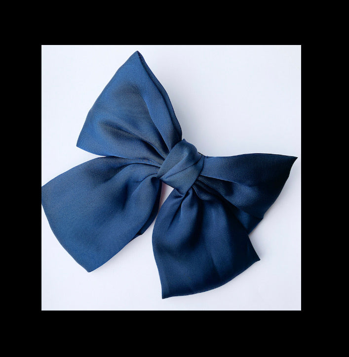 Satin Hair Bow Barrette Clip - Navy Blue
