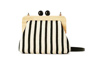 Stripe Wooden Bag - Black/Ecru